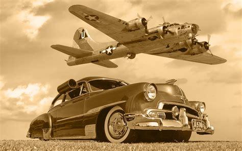 classic aircraft wallpaper chevrolet b17 car plane aircrafts lowrider classic