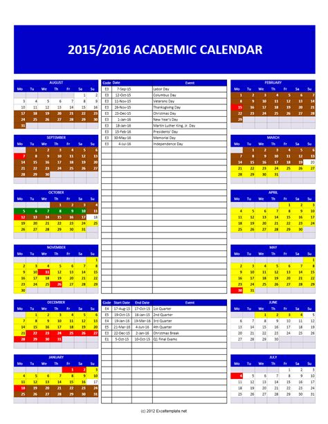 calendar template on excel 2015 2016 academic calendar templates