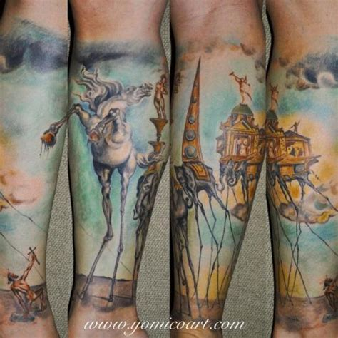 fine art tattoo designs salvador dali color yomico