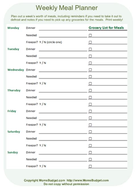 printable meal planner sheets weekly meal planner worksheet printable free worksheet