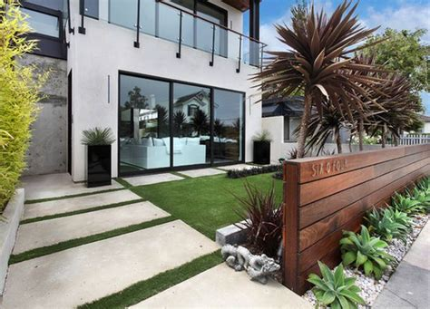 modern front yard landscaping add privacy and to your modern home with a wood fence
