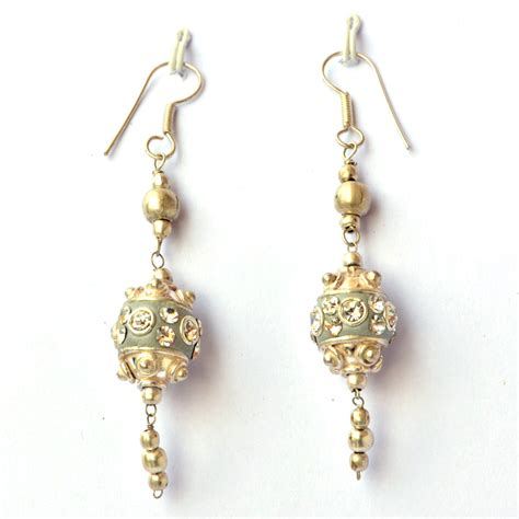 Handmade Ear Rings - handmade earrings gray with white rhinestones