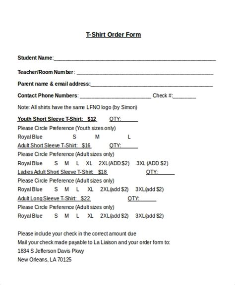 Sle T Shirt Order Form 10 Free Documents In Doc Pdf Blank T Shirt Order Form Template Word