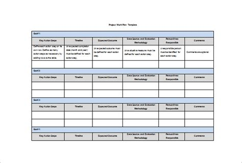 Work Template Word 18 Work Plan Templates Free Sle Exle Format