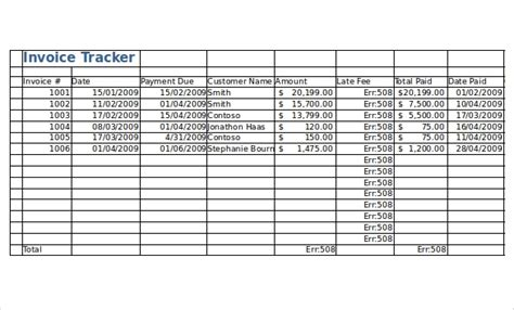 invoice tracking templates  sample