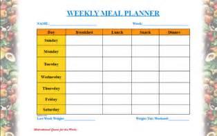 daily menu planner template daily menu planner template