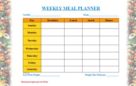 weekly diet template diet weekly meal planner template
