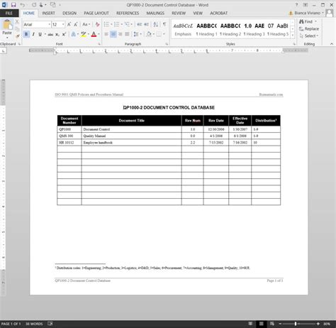 document control log iso template