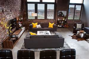 loft living room dashing urban loft uses contrasting textures to create coherent style