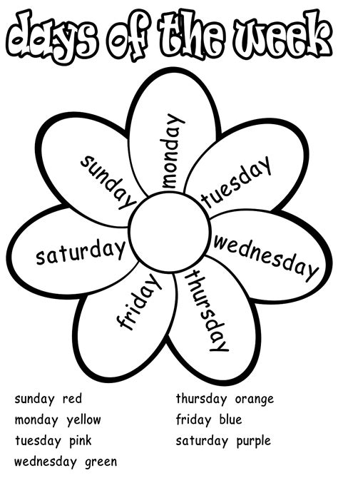 Days Of The Week Coloring Pages In Spanish | days of the week worksheets activity shelter