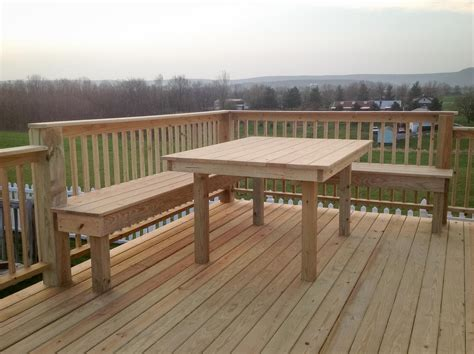 deck benches built in deck with built in bench and table leid s carpentry