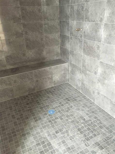 tiled walk in shower with bench custom shower pan shower base installation fiberglass