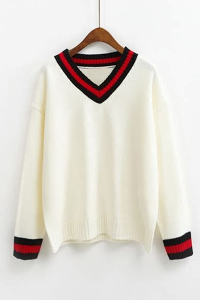 Sweater New Trendy Sweater new trendy striped trim sleeve v neck pullover