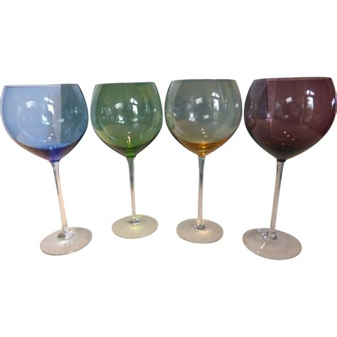 wine goblets vintage lenox colored gems balloon wine goblets in box