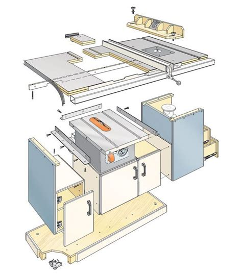 table saw router station shop cabinets