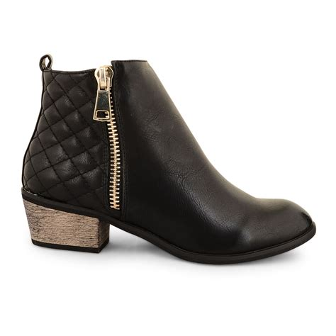 womens dolcis low heel chelsea ankle boots quilted