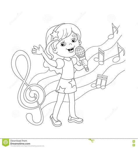 little girl singing coloring page coloring page outline of cartoon girl singing a song stock