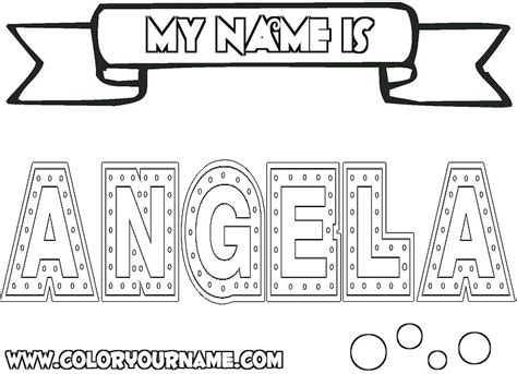 coloring page angela printable name coloring pages angela