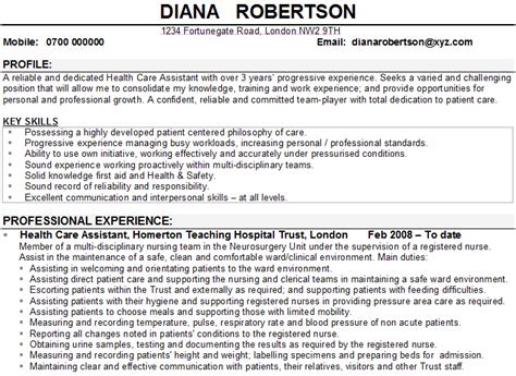 template cv healthcare health care assistant cv sle template