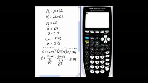 calculator level 84 hypothesis testing on ti 84 using t test youtube