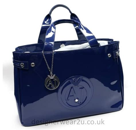 Large Patent Shopper Bag From Accessorize by Armani Armani Large Blue Patent Shopper