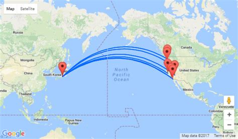 seattle to japan map west coast usa to japan from 369