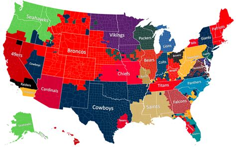 nfl usa map the geography of nfl fandom the atlantic