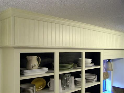 hide soffit above kitchen cabinets by adding crown molding beadboard soffit diy kitchen inspiration pinterest