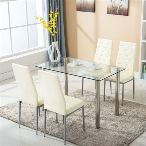 5 Piece Dining Table Set w/4 Chairs Glass Metal Kitchen