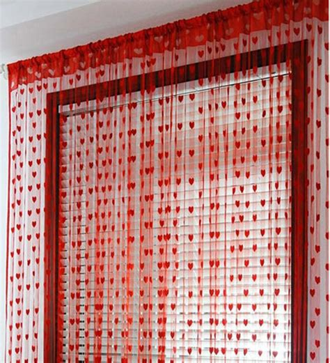 Handloomhub Red Heart Curtains Set Of 2 Pcs By