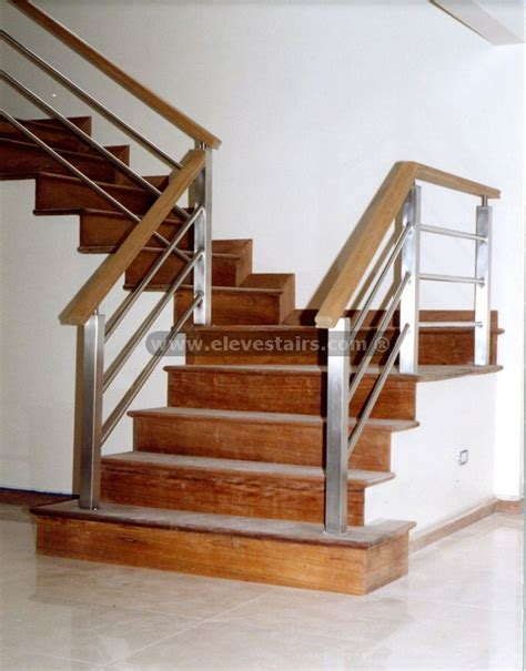 wooden stair banisters and railings metal and wood railings contemporary stainless steel
