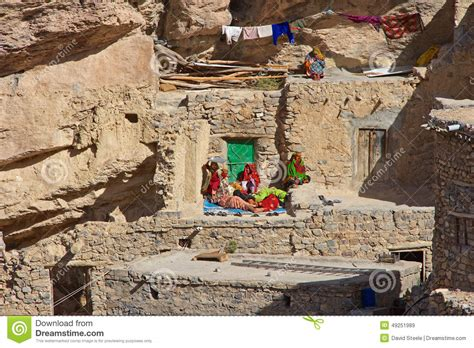 Traditional House Plan by Jebel Akhdar Cliff Hamlet Editorial Stock Image
