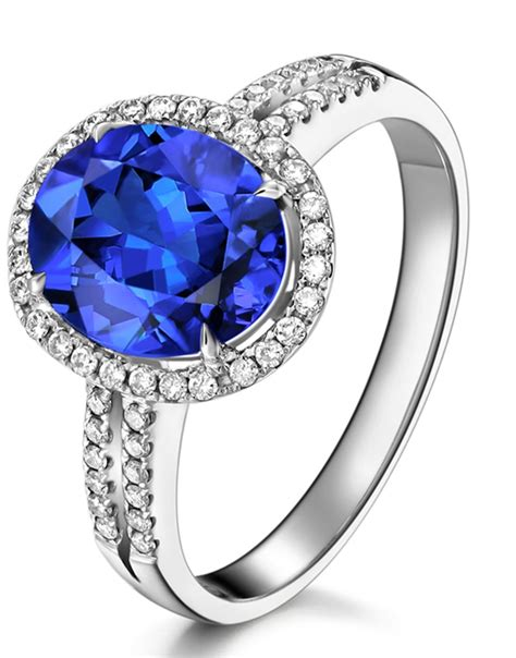 2 carat beautiful sapphire and halo engagement