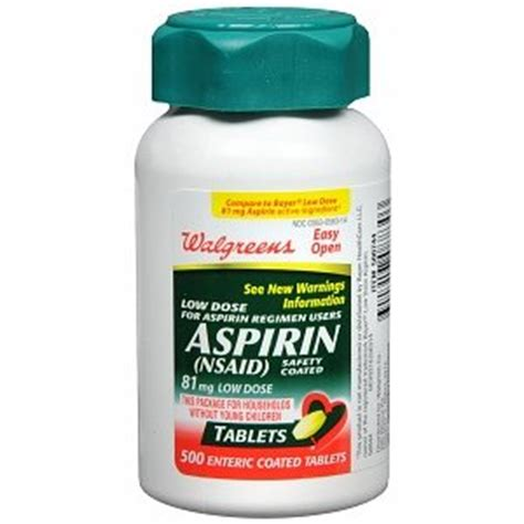 aspirin dosage walgreens aspirin low dose enteric coated tablets 81 mg 500 ea health