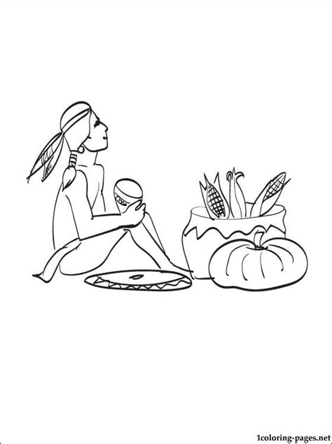free coloring pages of pilgrims and indians