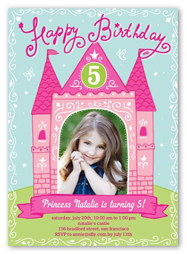 6 yr birthday invitation card template princess castle 5x7 birthday invitations shutterfly