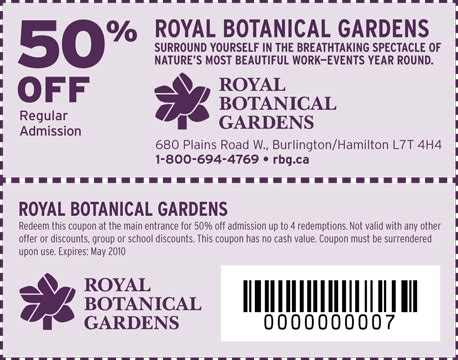 royal botanical gardens coupons rbg canada 50