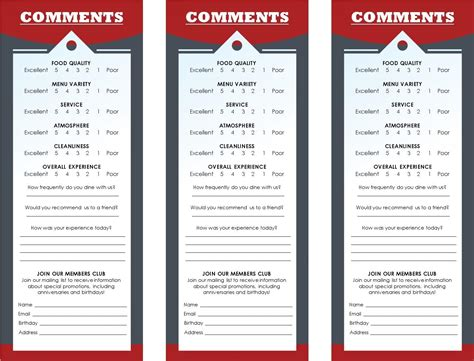 comment card templates for restaurants restaurant comment card template 28 images restaurant