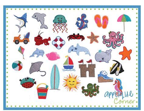 design embroidery mini applique corner applique design beach filled mini