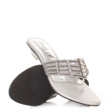 silver flat shoes for prom womens flat diamante mule sandals prom shoes