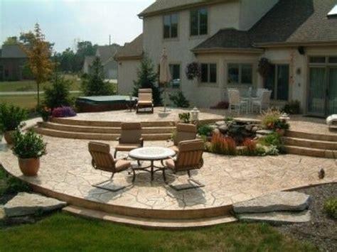 Tiered patio designs, stamped concrete patio designs