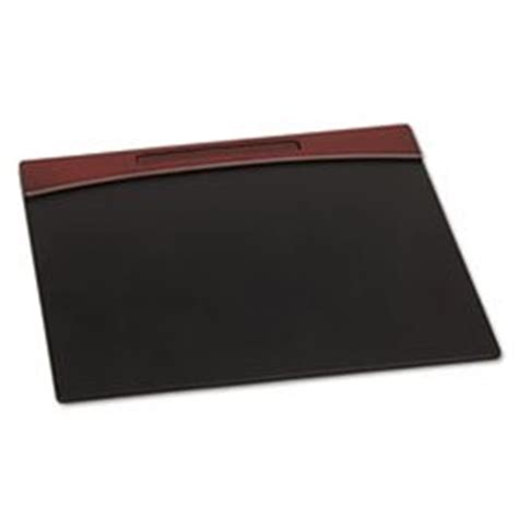 Faux Leather Desk Pad by Mahogany Wood And Black Faux Leather Desk
