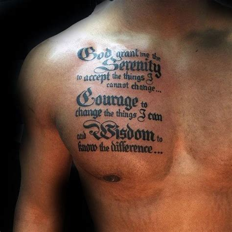 upper chest tattoo designs guys chest with serenity prayer design