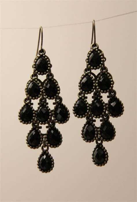 black chandelier earrings black chandelier earrings with multi faceted drops