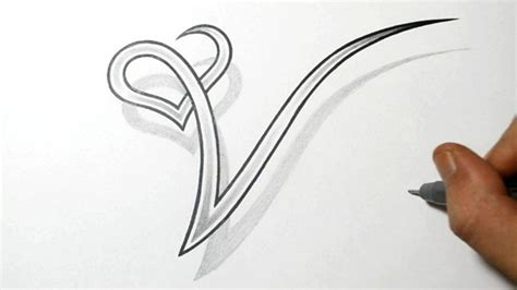 3d heart tattoos designs drawing the letter v with a design ink it