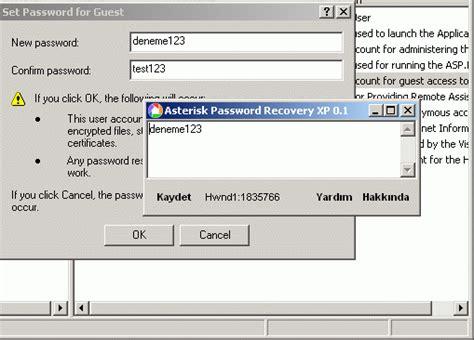 password resetter xp asterisk password recovery xp indir download program