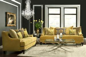 Modern Grey Sectional Sofa Gold Yellow Sofa Fa22 Collection Fabric Sofas