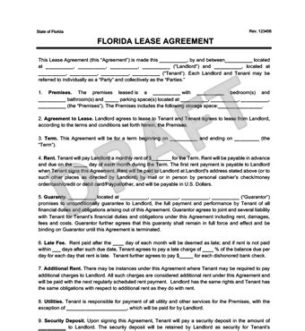 Rental Agreement Template Florida by Florida Residential Lease Rental Agreement Create