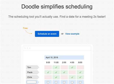 doodle calendar feed 23 free tools to manage projects grow communities and