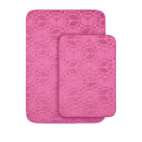 Pink Bathroom Rug Sets Garland Rug Peace Pink 20 In X 30 In Washable Bathroom 2 Rug Set Pb 2pc Pnk The Home Depot